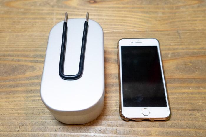 ダイソーメスティンとiPhone6s大きさ比較
